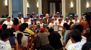 presidente daniel se reune con niños de campeonato de beisbol