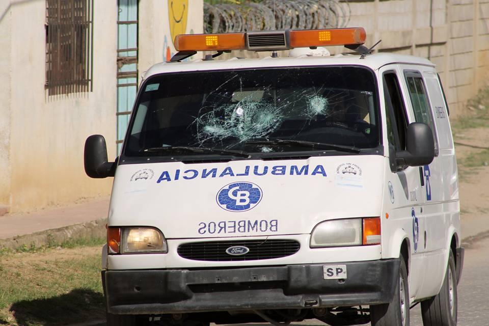 Así dejaron una de las ambulancias
