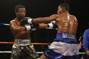 27 September 2008: Shane Mosley exchanges punches with Ricardo Mayorga (NIC) during their Junior Middleweight bout in Carson, CA. Mosley won with a knockout in the final seconds of the 12th round.