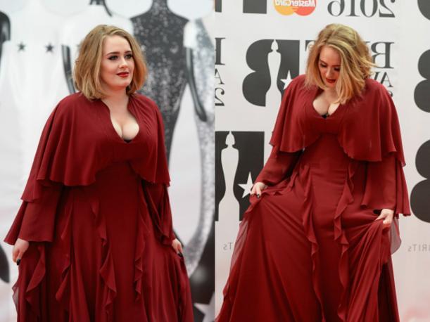 adele vestido rojo