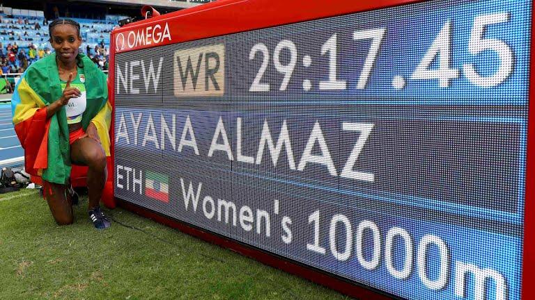 Oro y récord mundial femenino 10,000 metros para etíope Almaz Ayana