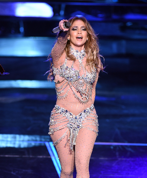 """LAS VEGAS, NV - JANUARY 20: Singer/actress Jennifer Lopez performs during the launch of her residency """"JENNIFER LOPEZ: ALL I HAVE"""" at The Axis at Planet Hollywood Resort & Casino on January 20, 2016 in Las Vegas, Nevada. (Photo by Ethan Miller/Getty Images)"""