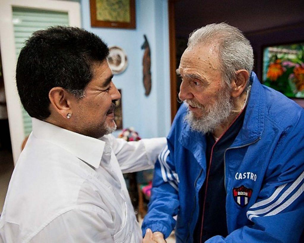 15 de abril de 2013 el líder cubano Fidel Castro junto al exfutbolista argentino Diego Armando Maradona.