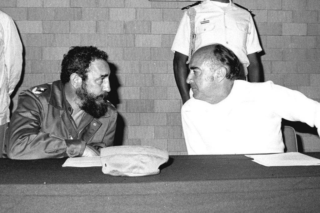 El político cubano junto al ex presidente de México, José López Portillo, en visita de estado a México, julio de 1980.