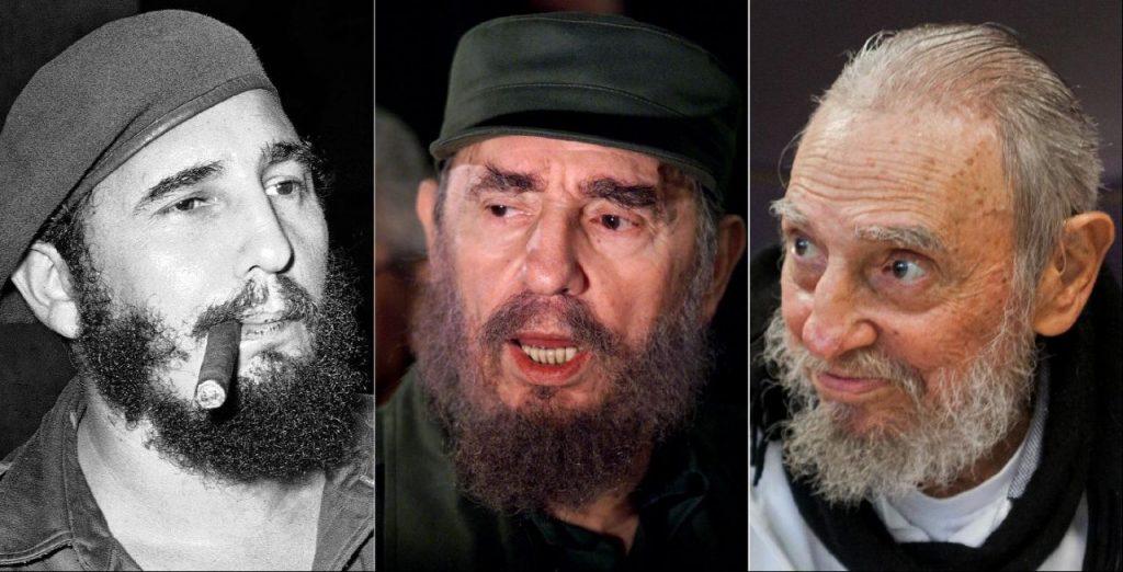 Izq a Der: en La Habana, Cuba, 29 de abril de 1961; hablando a la prensa cuando fue a buscar a Elián González en Washington, 6 de abril de 2000; y en su casa en La Habana, 13 de febrero de 2016.