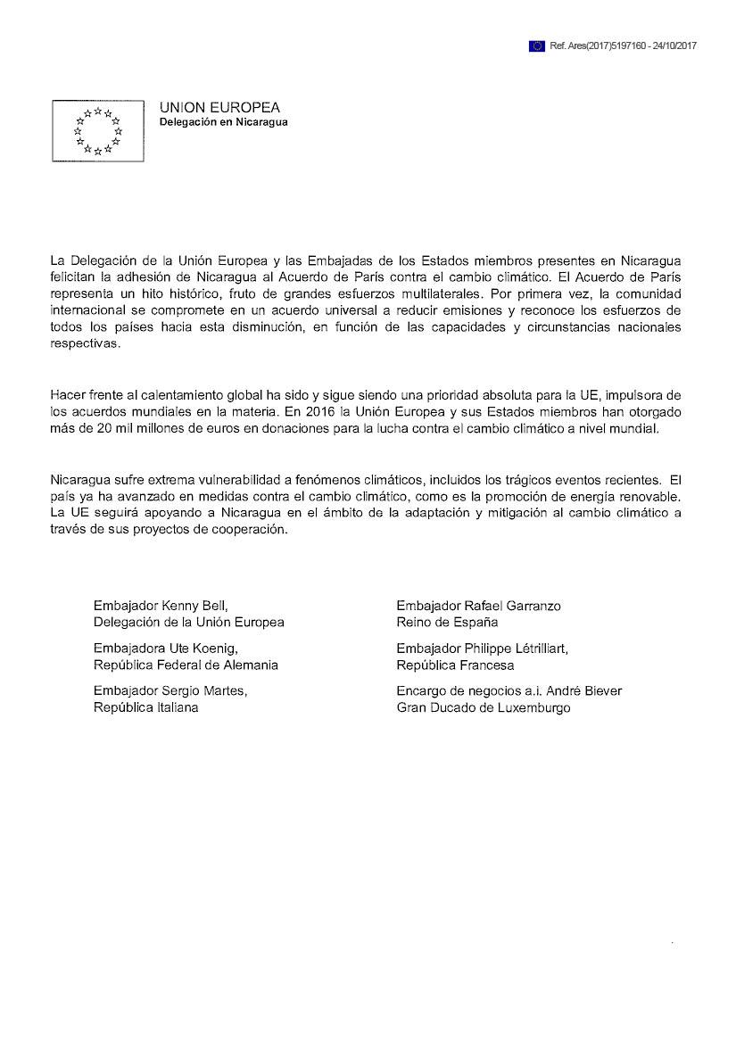 Unión Europea destaca adhesión de Nicaragua al Acuerdo de París