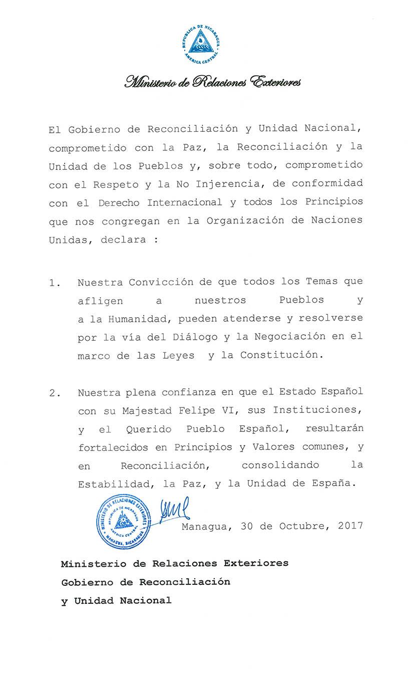Nicaragua emite comunicado sobre España