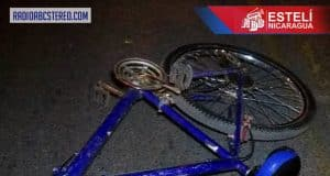 La bicicleta que conducía Felipe Urrutia Gutiérrez. Foto cortesía de Radio ABC Estelí