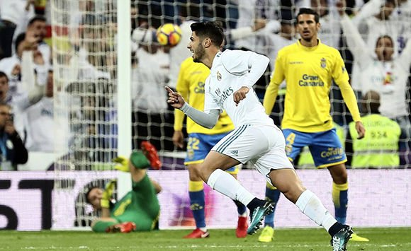 Real Madrid golea 3-0 a Las Palmas con tantos de Casemiro, Asensio e Isco
