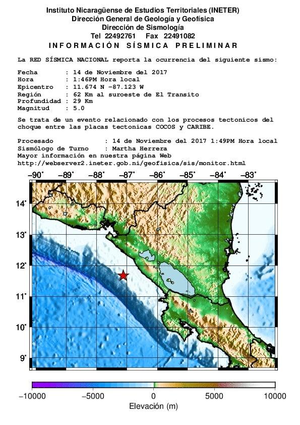 Preliminar: Mag: 5.3, 82.0 km Oeste Suroeste de San Rafael Del Sur, Nicaragua