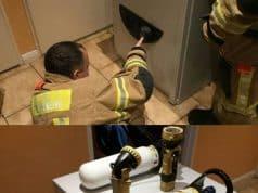 Los bomberos trabajaron varias horas hasta adivinar la clave
