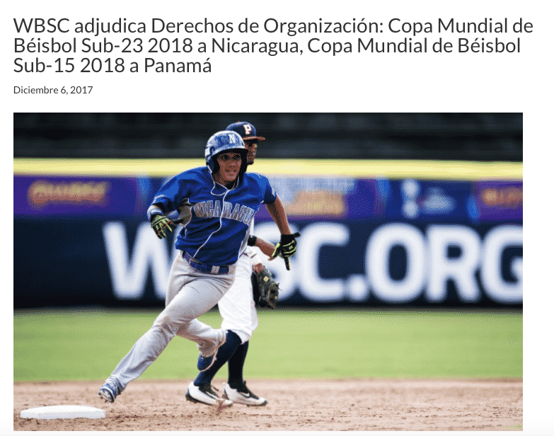 Panamá será sede del Mundial de Béisbol Sub — Oficial