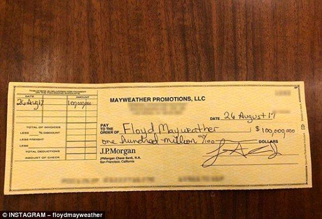 El cheque de 100 millones de Floyd Mayweather