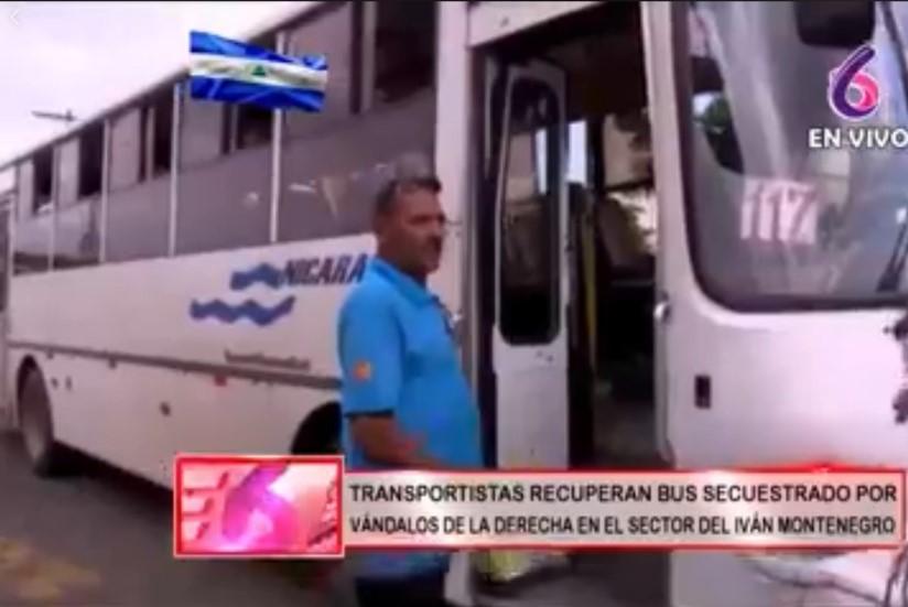 Transportistas recuperan autobús secuestrado en Managua