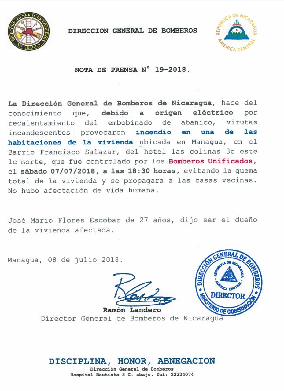 Dirección General de Bomberos Nota 19-2018