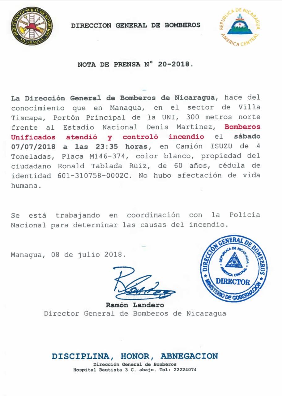Dirección General de Bomberos Nota 20-2018