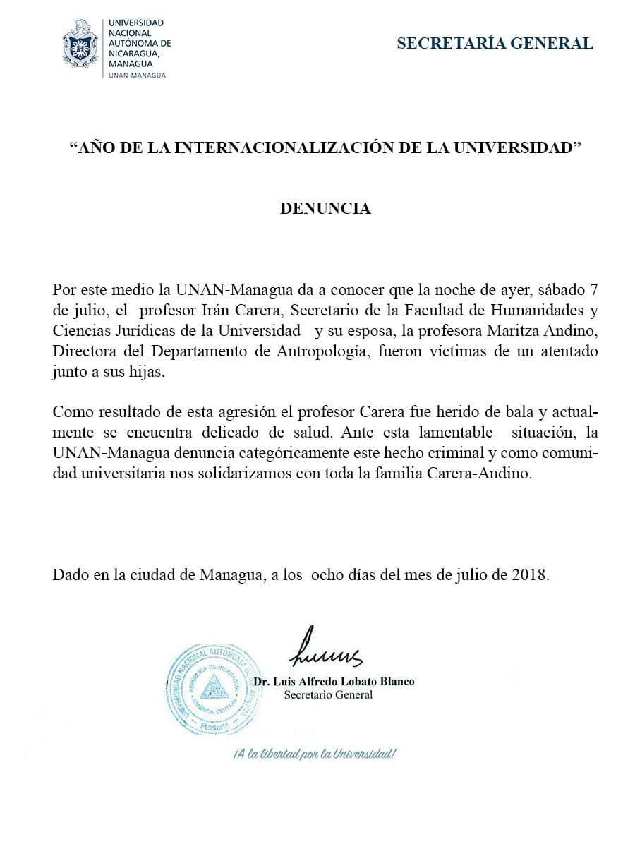 Comunicado UNAN-Managua sobre ataque a dos profesores