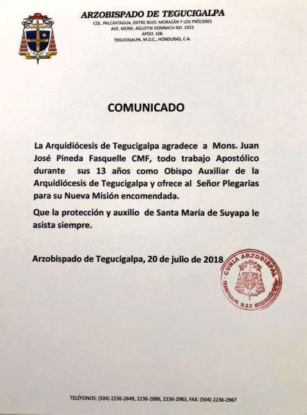 Comunicado de la Arquidiócesis de Tegucigalpa