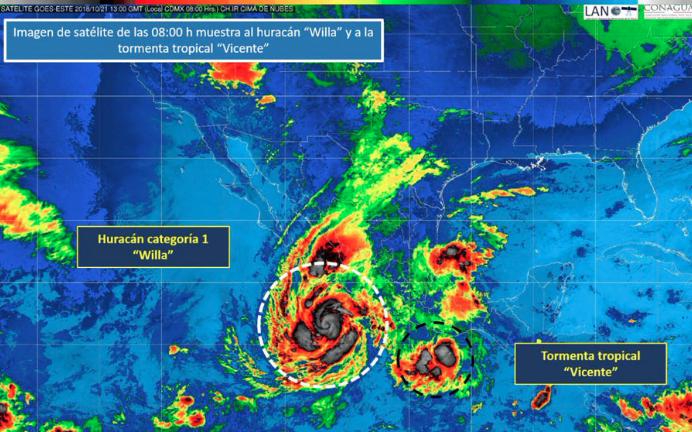 El huracán Willa y la Tormenta Tropical Vicente