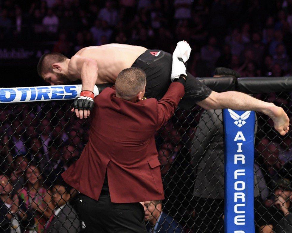 Instantes en que Nurmagomedov salta el octágono para atacar al entrenador de McGregor