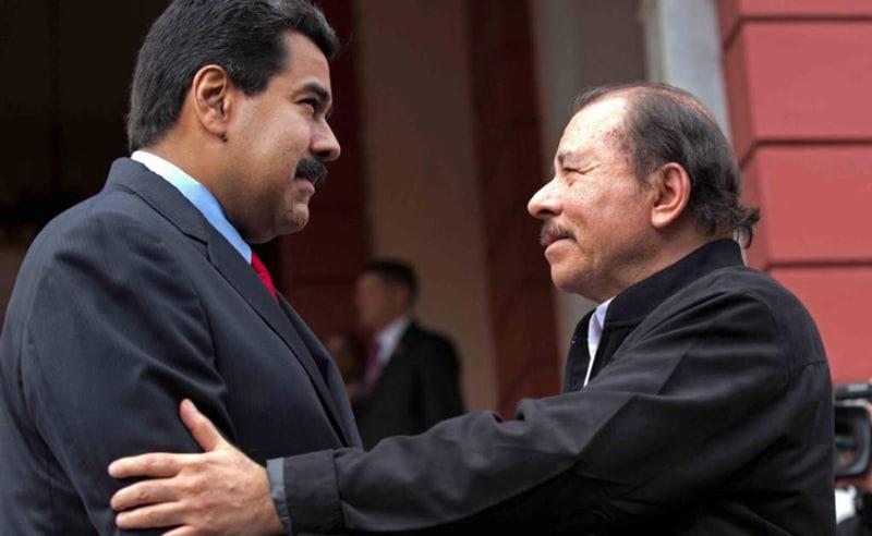 Los presidentes Nicolas Maduro y Daniel Ortega