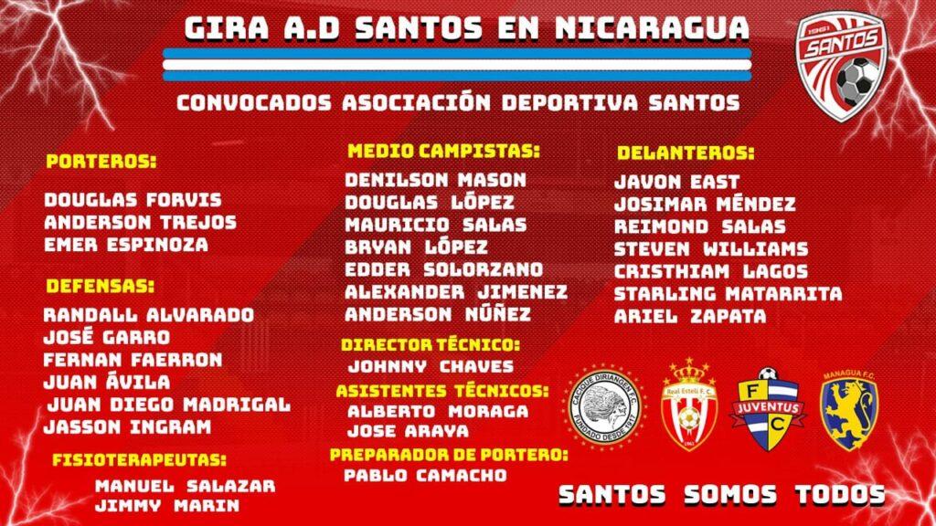 Los convocados de Santos de Guápiles para los amistosos en Nicaragua