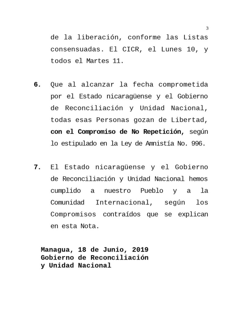 Gobierno de Nicaragua liberó a presos que alteraron la paz
