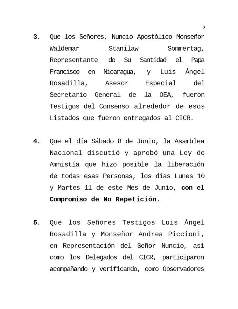 Gobierno de Nicaragua liberó a presos que alteraron el orden
