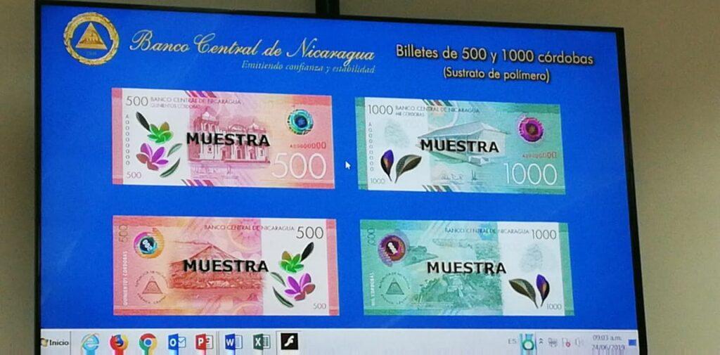 El Banco Central de Nicaragua anunció hoy los nuevos billetes de 500 y 1,000 córdobas
