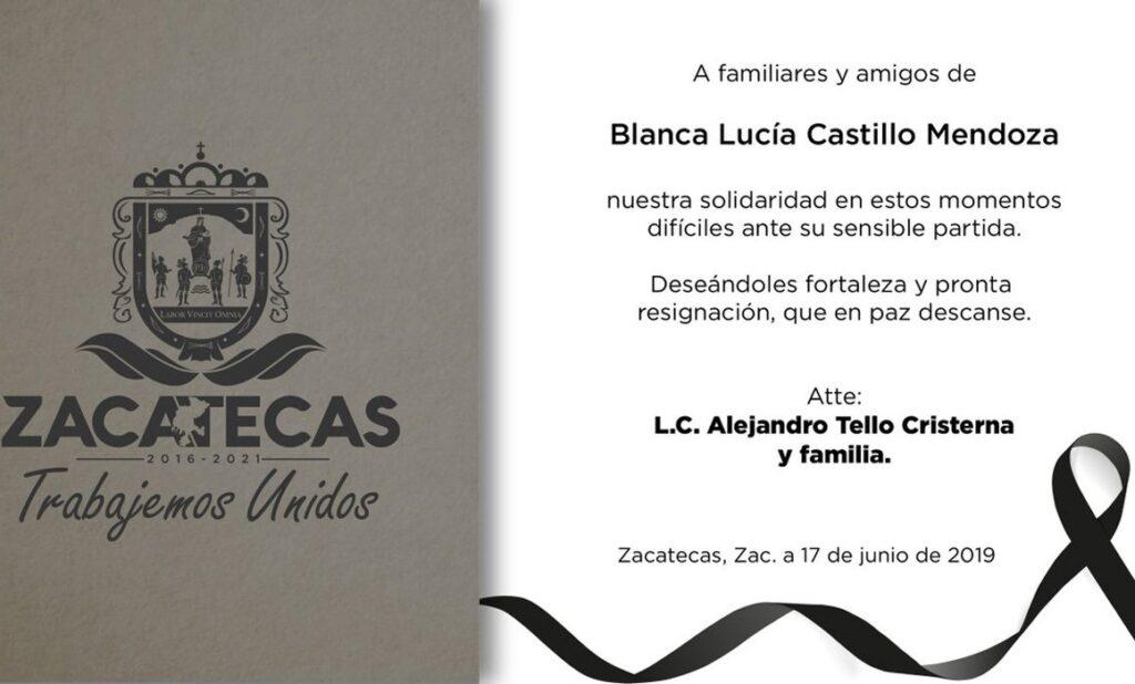 Tv Azteca se solidariza con la familia doliente a través de una carta