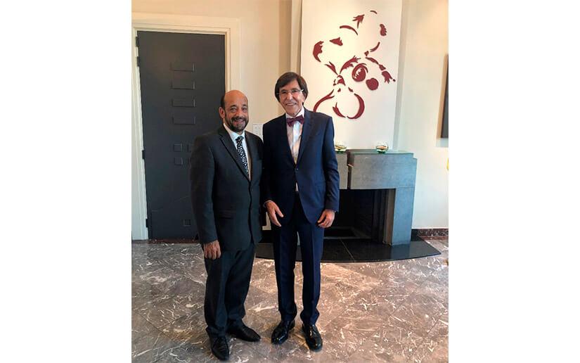Elio de Ruppo, Ministro Presidente del Gobierno de Valonia y el compañero Lautaro Sandino Embajador de Nicaragua