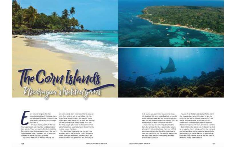 Kreol Magazine publicó un adelanto de su artículo: Las Islas del Maíz, las gemas ocultas de Nicaragua