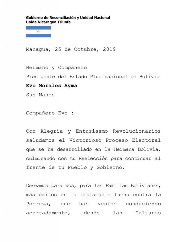 Felicitaciones a Evo Morales