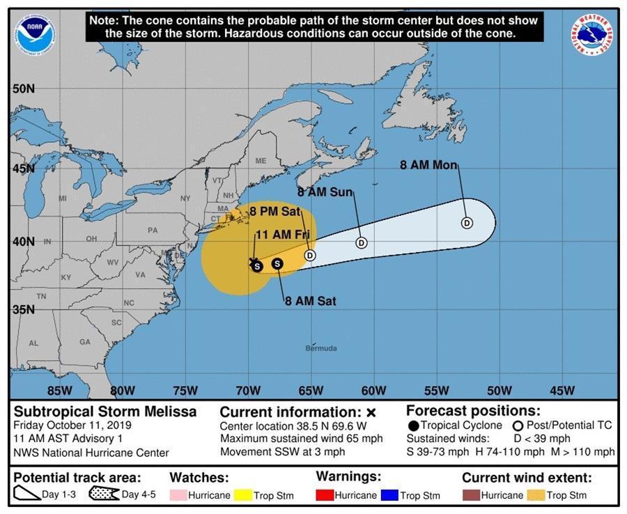 Los pronósticos de la tormenta subtropical Melissa