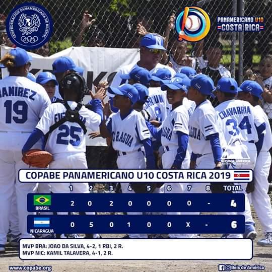 Nicaragua venció 6-4 a Brasil en el Torneo de Béisbol Sub10 de Costa Rica, Foto Cortesía COPABE