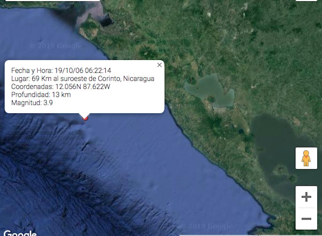 Este domingo otro sismo de 3.9 sacudió Chinandega