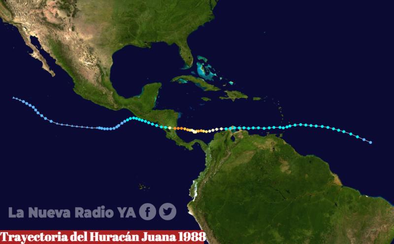 Trayectoria del Huracán Juana en 1988