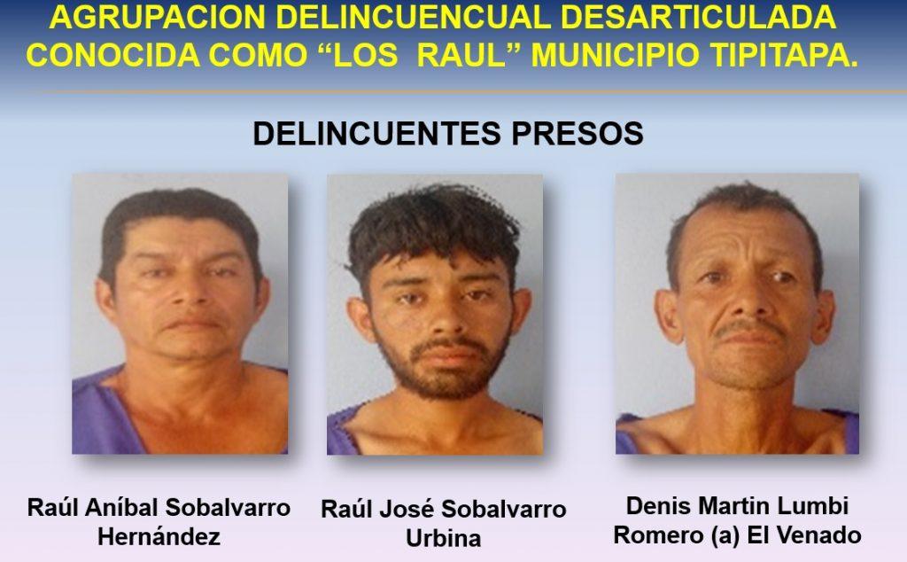 Los delincuentes Raúl Sobalvarro, Raúl Sobalvarro, Denis Lumbi Romero