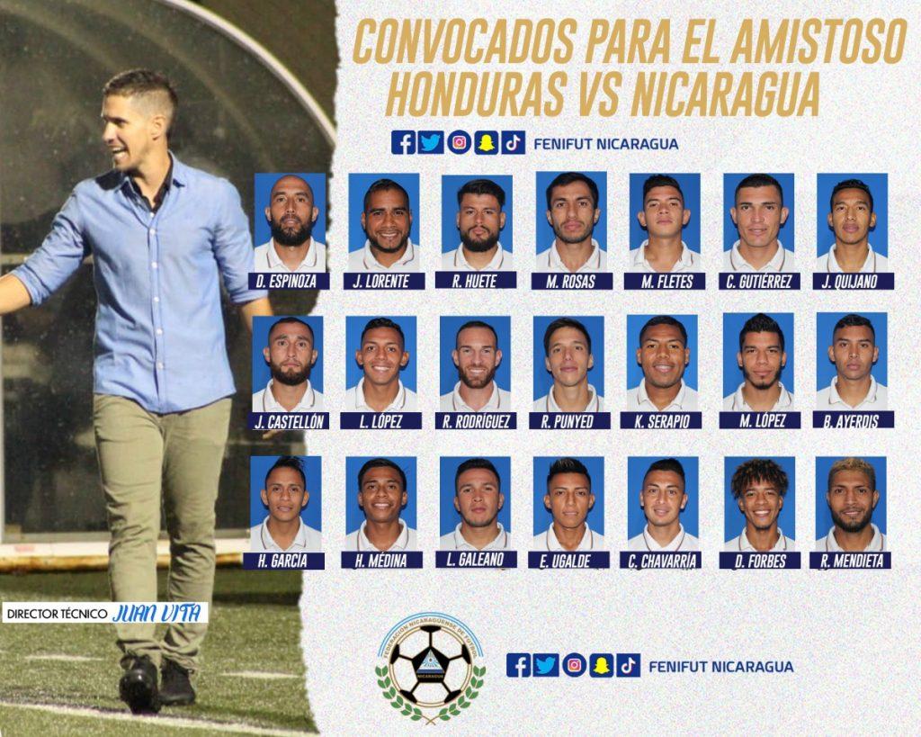 Esta es la convocatoria de la Selección de Nicaragua para enfrentar a Honduras el próximo sábado