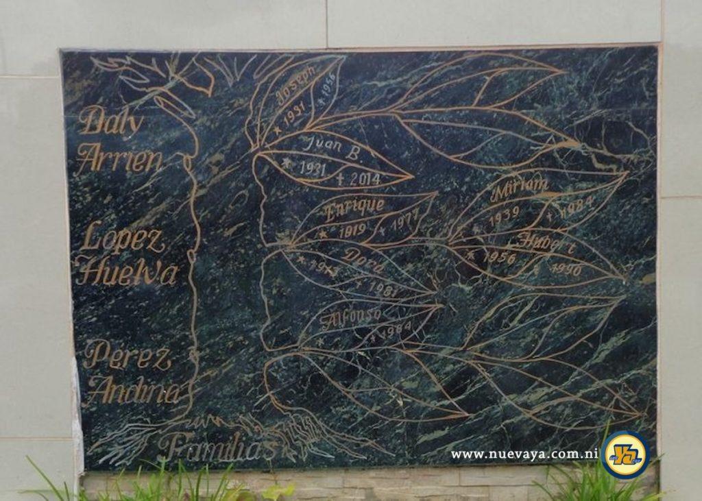 Un inusual árbol genealógico en una tumba del Cementerio General de Managua