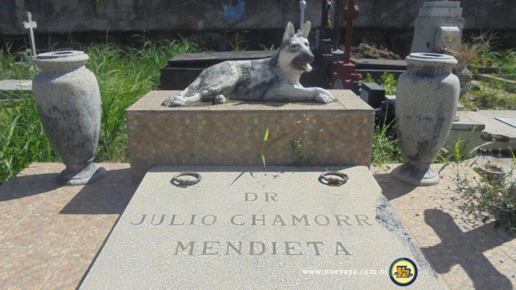 Imagen de un perro llorando la tumba de su amo en Managua