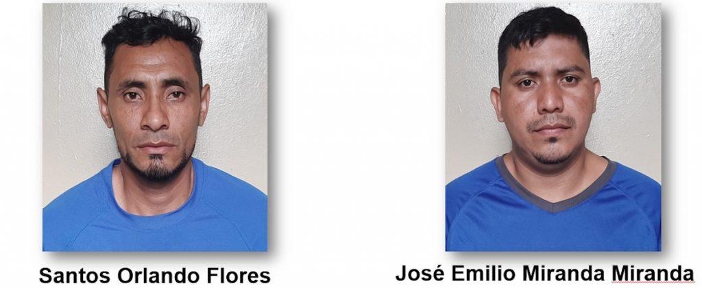 Los detenidos Santos Orlando Flores y José Emilio Miranda Miranda