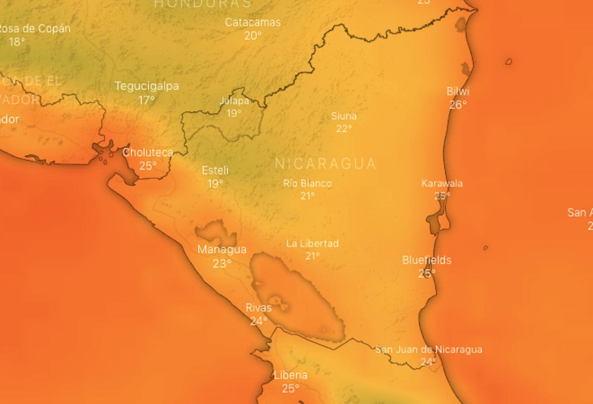 Frío en Nicaragua, martes 19 de enero 2021, windy.tv