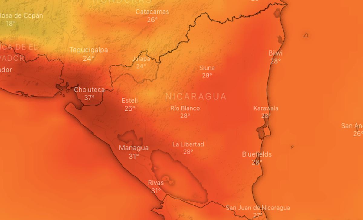 Mapa meteorológico de Nicaragua, por la tarde del lunes 8 de marzo 2021. Fuente windy.com