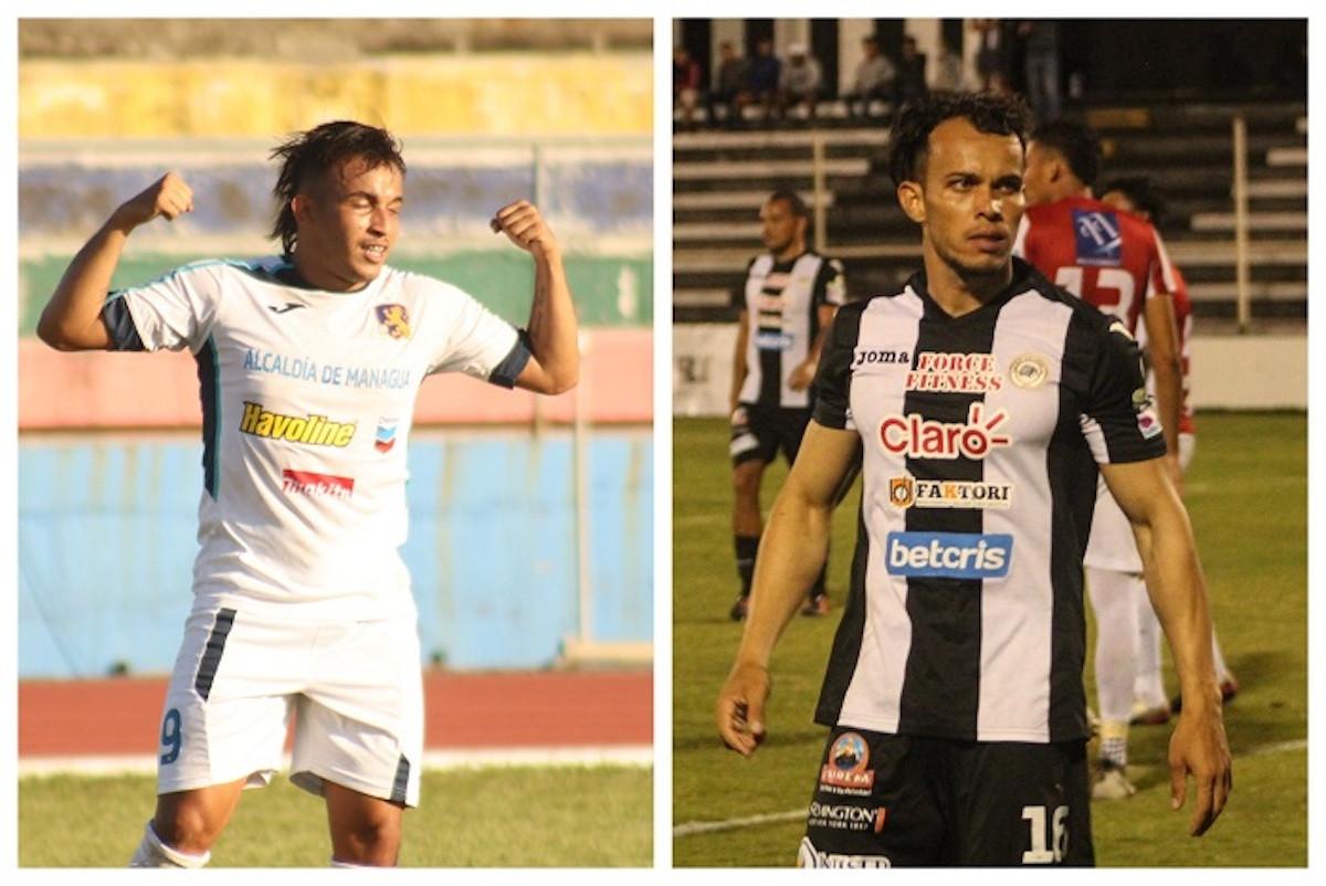 Los brasileños Lucas Dos Santos del Managua FC y Maycon Santana del Diriangen