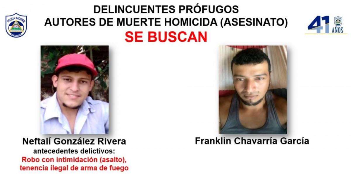 Se busca a Neftalí González Rivera y Franklin Chavarría García