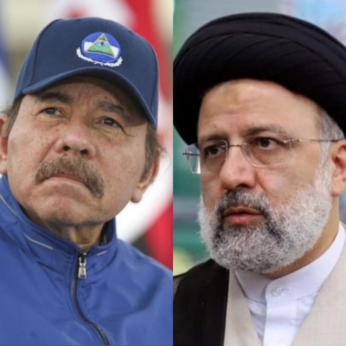 El presidente nicaragüense Daniel Ortega (izq) y el mandatario iraní Seyyed Ebrahim Raisi (der)